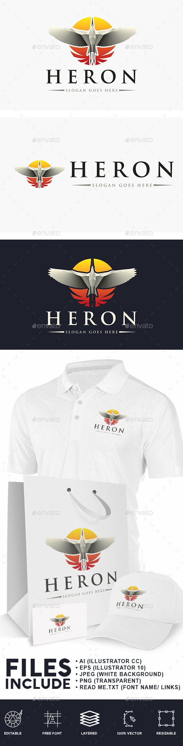 Heron Bird Logo - Animals Logo Templates