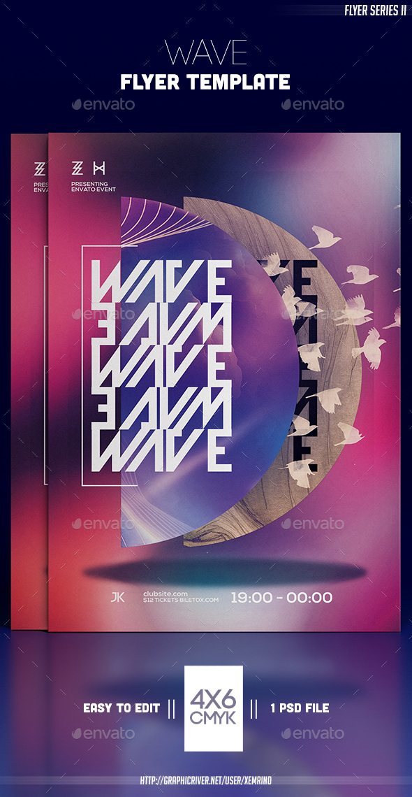 Wave Flyer Template - Clubs & Parties Events