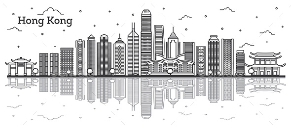 Outline Hong Kong China City Skyline with Modern Buildings and Reflections Isolated on White. - Buildings Objects