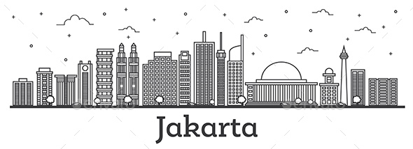 Outline Jakarta Indonesia City Skyline with Modern Buildings Isolated on White. - Buildings Objects
