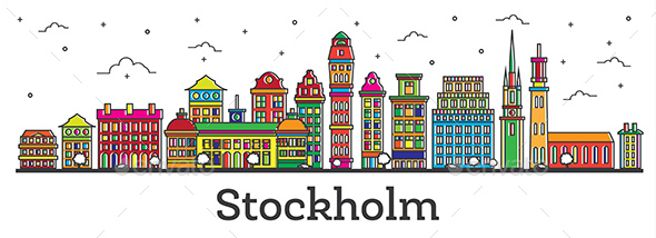 Outline Stockholm Sweden City Skyline with Color Buildings Isolated on White. - Buildings Objects