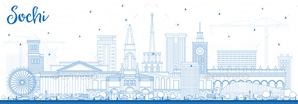 Outline Sochi Russia City Skyline with Blue Buildings. - Buildings Objects