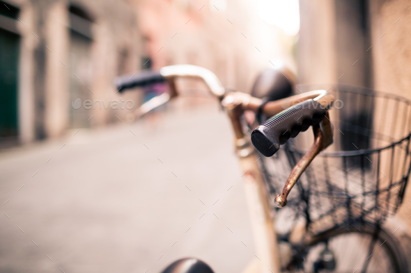 City bicycle handlebar, bike over blurred beautiful bokeh backgr - Stock Photo - Images