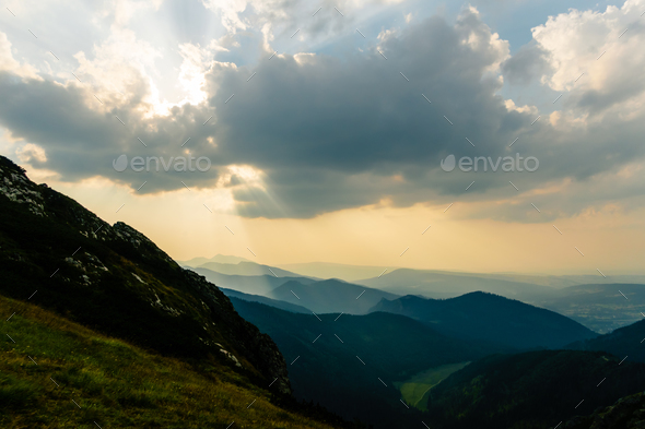 Inspiring Mountains Landscape, summer sunset in Tatras - Stock Photo - Images