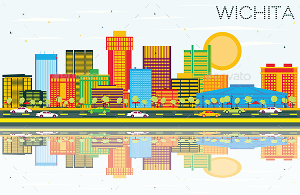 Wichita Kansas USA City Skyline with Color Buildings, Blue Sky and Reflections - Buildings Objects