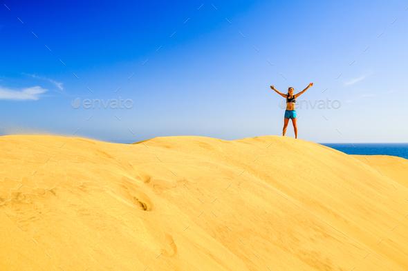 Runner success on beach sand dunes - Stock Photo - Images