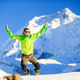 Man hiker happy jump in winter mountains - PhotoDune Item for Sale