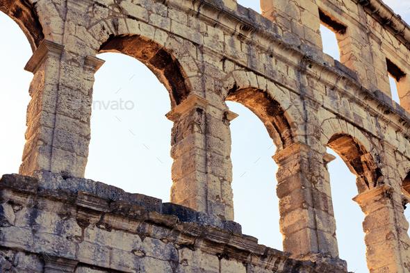 Roman amphitheater arena, ancient coliseum architecture in Pula - Stock Photo - Images