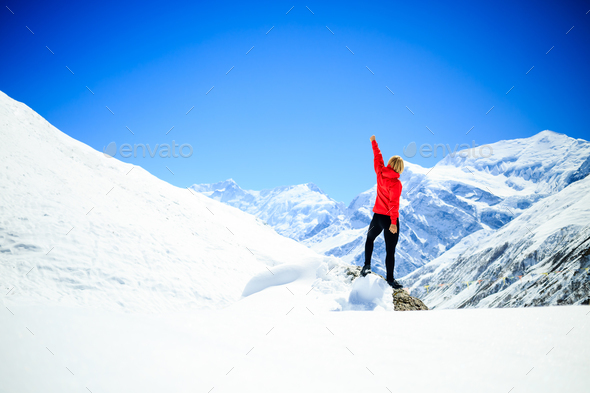 Woman success climbing on mountain peak - Stock Photo - Images