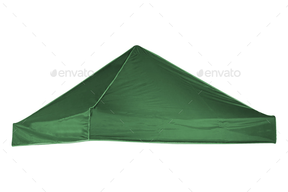green tourist tent isolated on white - Stock Photo - Images