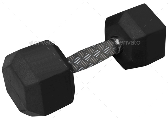 dumbbell isolated on white - Stock Photo - Images