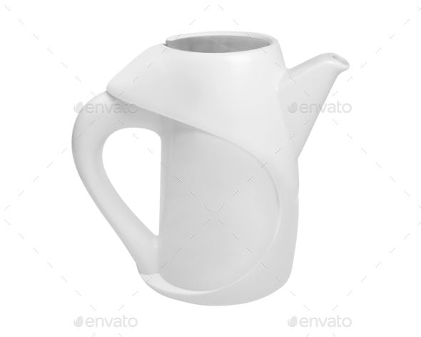 White teapot isolated on white - Stock Photo - Images