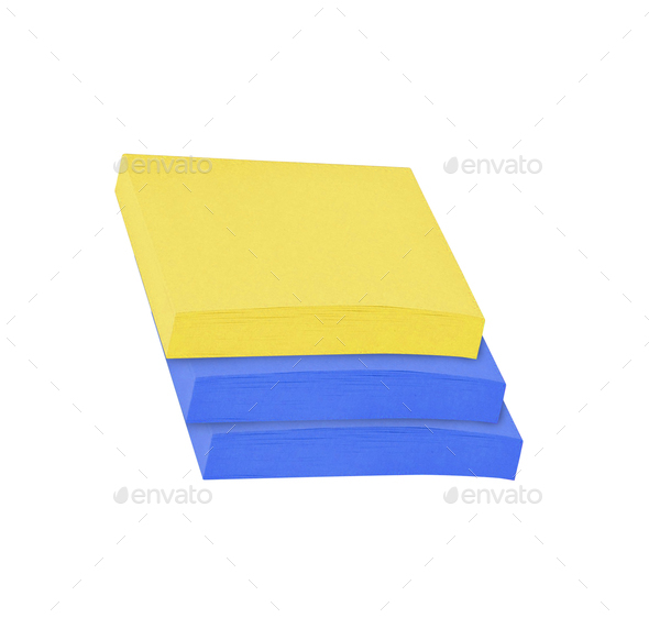 Sticky notes isolated on white background - Stock Photo - Images