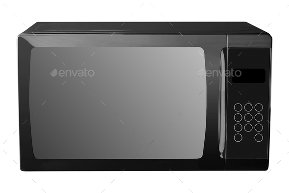microwave oven isolated on a white - Stock Photo - Images