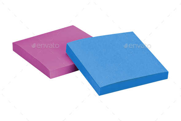 Sticky notes isolated on white - Stock Photo - Images