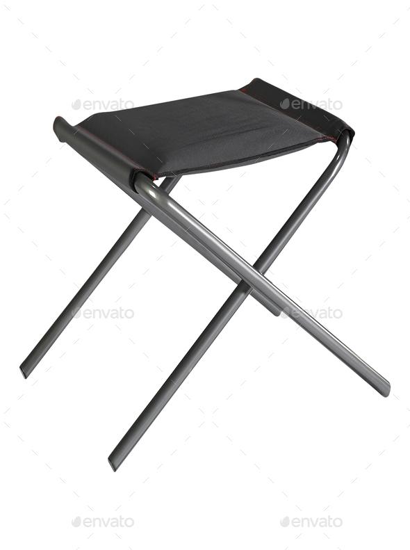 Black folding stool - Stock Photo - Images