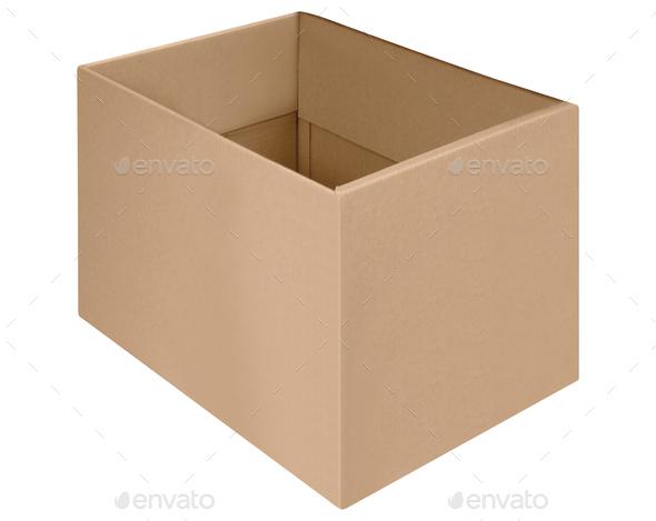 cardboard kraft box isolated on white - Stock Photo - Images