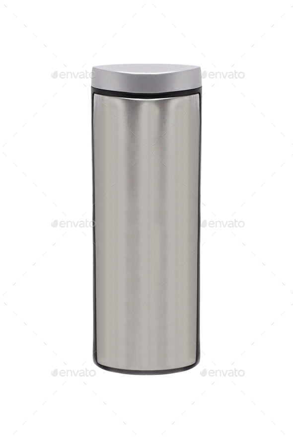 metal thermos. isolated on white - Stock Photo - Images