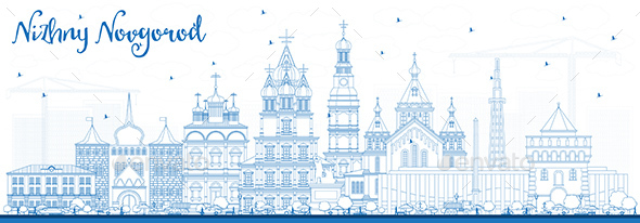 Outline Nizhny Novgorod Russia City Skyline with Blue Buildings - Buildings Objects
