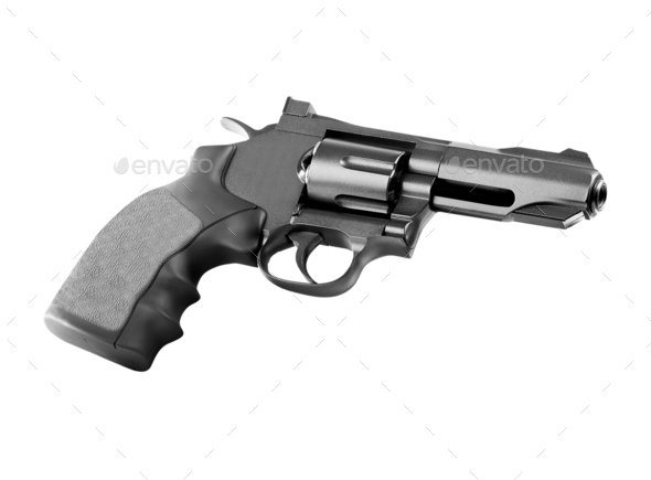 Revolver on white background - Stock Photo - Images