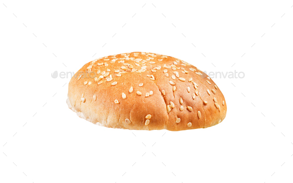 Round sandwich bun isolated on white - Stock Photo - Images