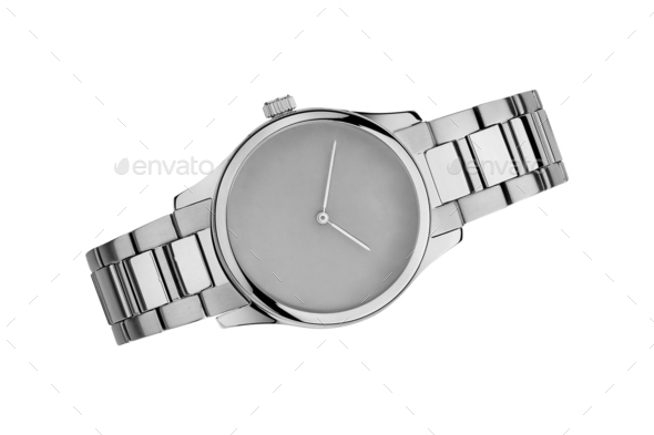 Silver watch isolated on white - Stock Photo - Images