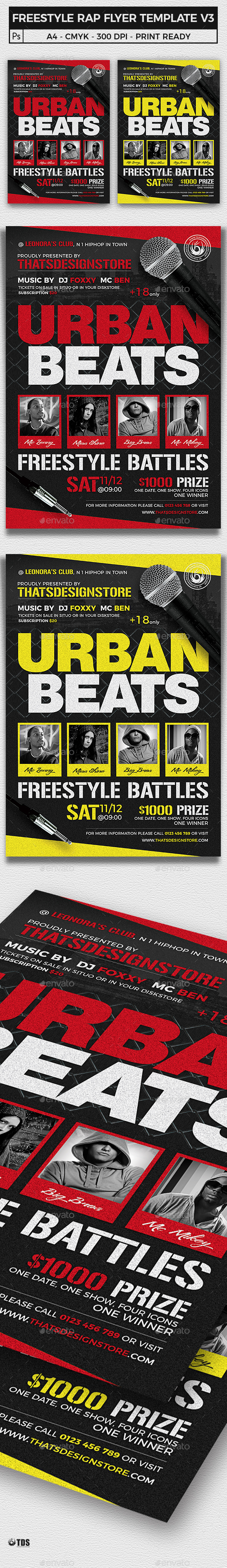 Freestyle Rap Battle Flyer Template V3 - Clubs & Parties Events
