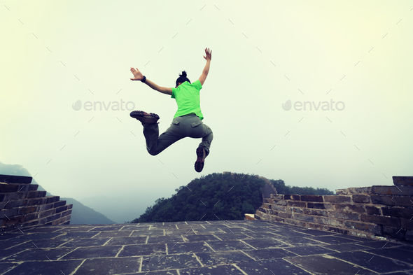Freedom hipster jumping - Stock Photo - Images