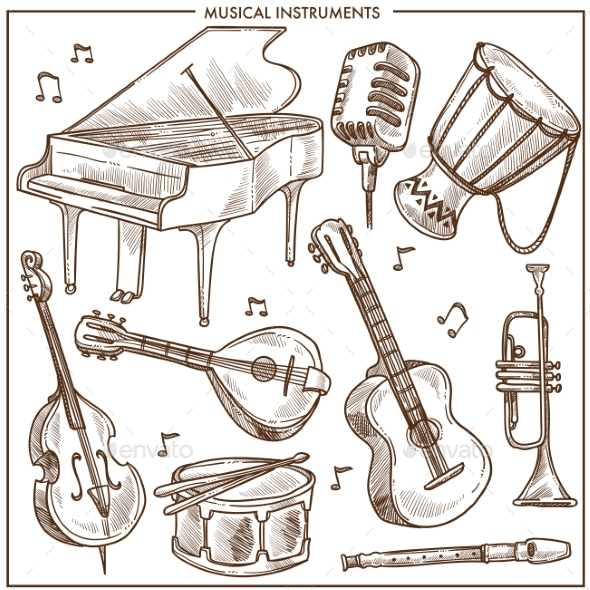 Musical Instruments Vector Sketch Icons Collection - Man-made Objects Objects