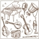 Musical Instruments Vector Sketch Icons Collection - GraphicRiver Item for Sale