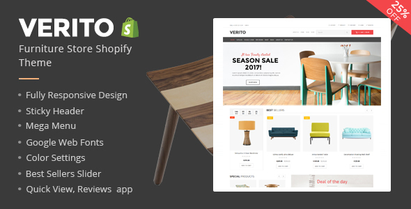 Verito Furniture Store Shopify Theme & Template - Shopify eCommerce