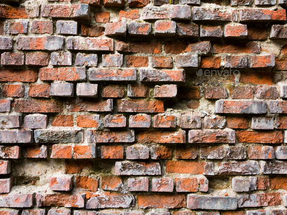 Old broken brick wall - Stock Photo - Images