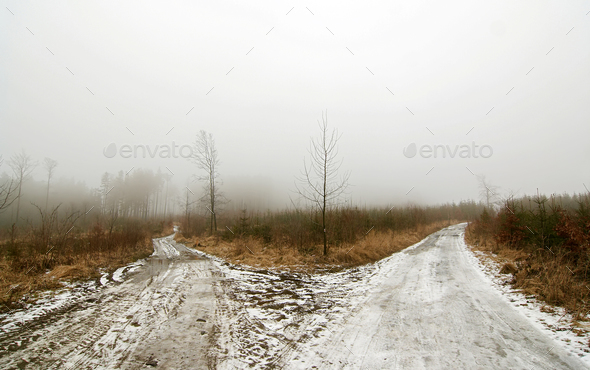 Bleak crossroads - Stock Photo - Images