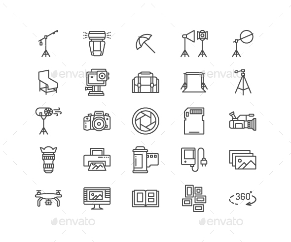Photography Line Icons - Technology Icons