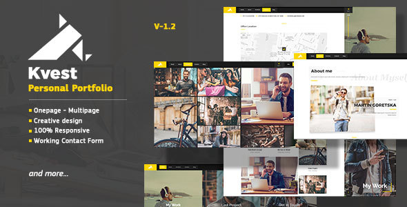 Kvest - Creative  Responsive Personal  Portfolio - Personal Site Templates