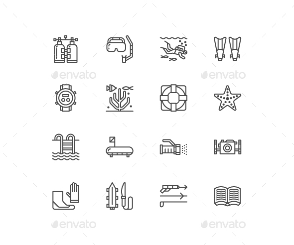 Scuba Diving Line Icons - Objects Icons