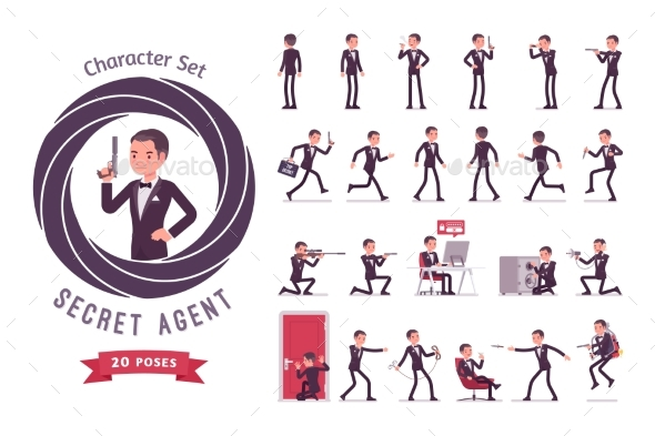 Secret Agent Man Ready-to-Use Character Set - People Characters