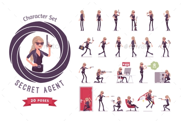Secret Agent Woman Ready-to-Use Character Set - People Characters