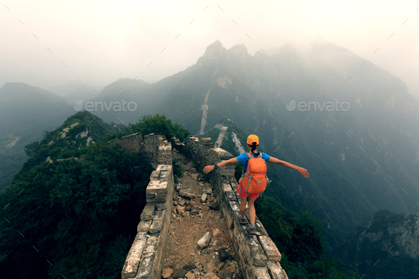 Hiking on Chinese great wall - Stock Photo - Images