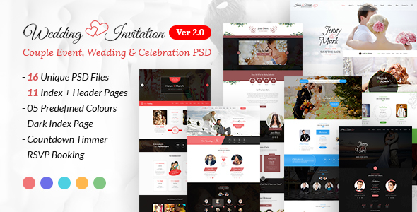 Wedding Invitation - Couple Event, Wedding & Celebration PSD Template - Events Entertainment