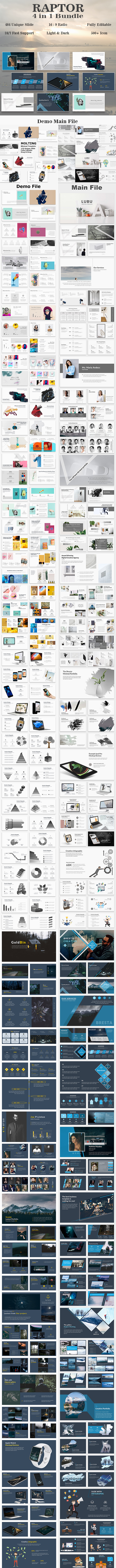 Raptor Bundle 4 in 1 Minimal PowerPoint Template - Creative PowerPoint Templates