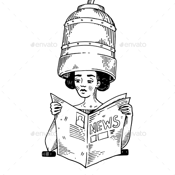Woman with Hair Dryer Engraving Vector - People Characters