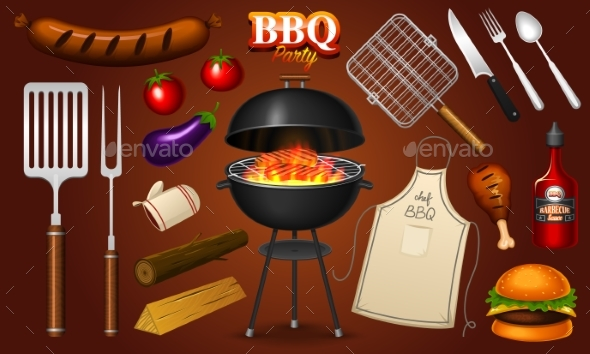 Barbecue Grill Elements Set Isolated on Red - Food Objects
