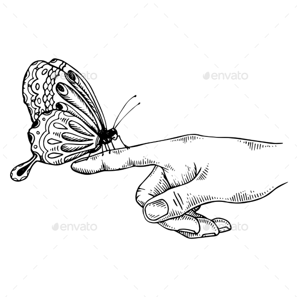 Butterfly on Finger Engraving Vector Illustration - Animals Characters
