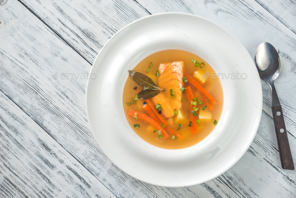 Portion of salmon soup - Stock Photo - Images
