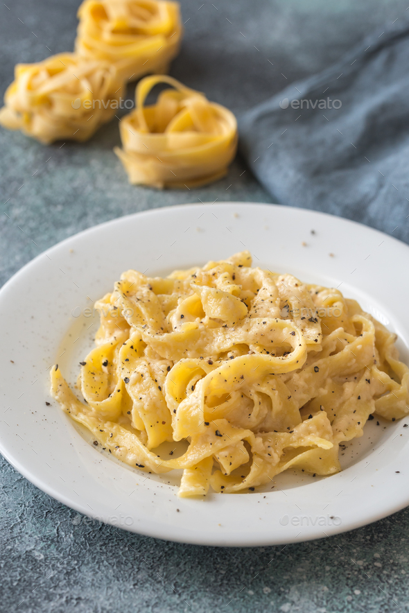 Portion of fettuccine Alfredo - Stock Photo - Images