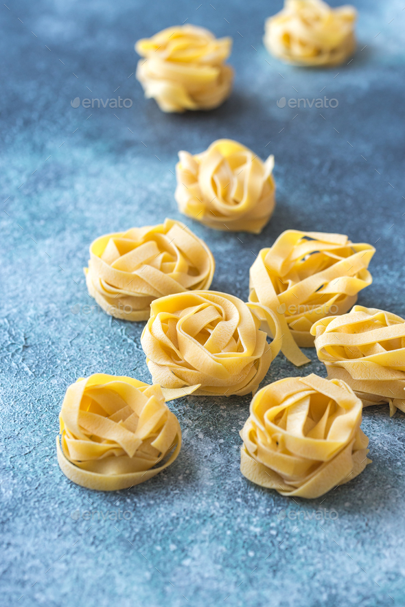 Raw fettuccine pasta - Stock Photo - Images