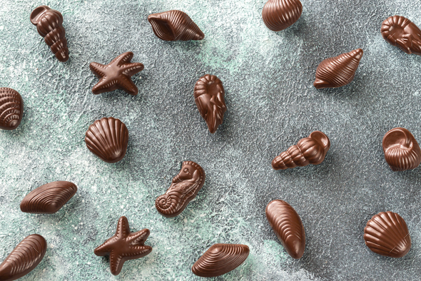 Chocolate candies in the shape of seafood - Stock Photo - Images