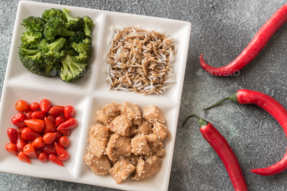 Bowl of broccoli and chicken stir-fry - Stock Photo - Images