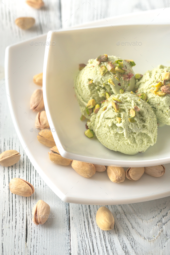 Pistachio ice cream in the bowl - Stock Photo - Images